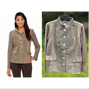 Suede Jacket with Knit Sleeves, 26W NWT Stone